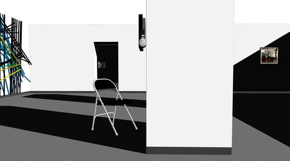 """KLAUS PAMMINGER """"SHADOW IN THE CUBE"""", 2018 Installationsskizze, Fotogalerie Wien, Übersicht"""
