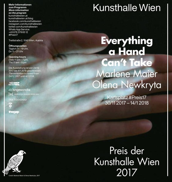 Preis der Kunsthalle Wien 2017: Everything a Hand Can't Take