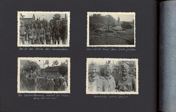 Albumseite aus dem Fotoalbum von Friedrich Bilges während des Vormarschs in der Sowjetunion 1941 (zwischen Wjasma und Moskau); (c) Privatbesitz Dr. Hartmut Bilges, Isernhagen