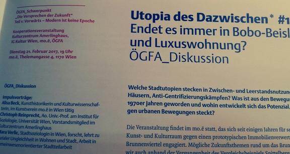 ÖGFA_Diskussion: Utopia des Dazwischen* #1 Endet es immer in Bobo-Beisl und Luxuswohnung?