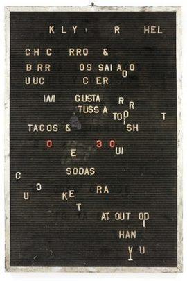 Lutz Bacher, Menu, 2002, mixed media, Sammlung Robin Wright