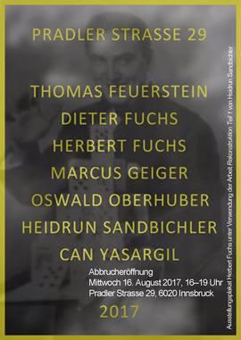 """Ausstellungsplakat Herbert Fuchs unter Verwendung der Arbeit """"Rekonstruktion Teil 1"""" von Heidrun Sandbichler"""