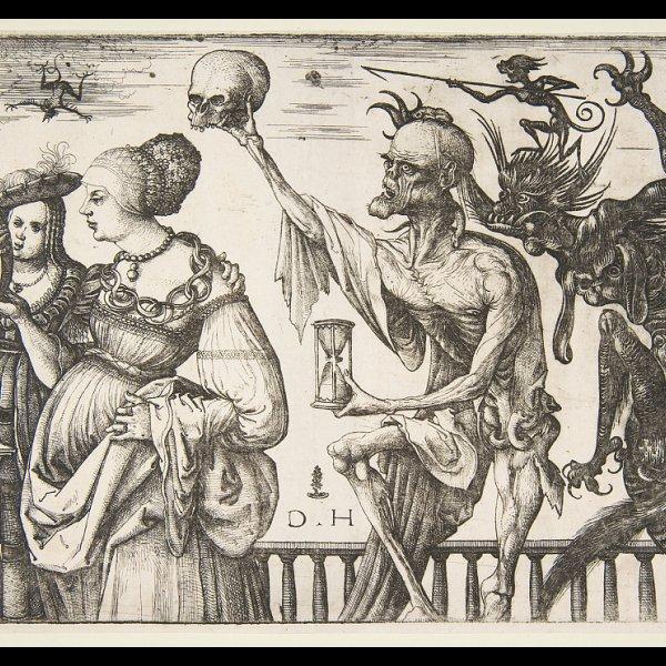 Daniel Hopfer: Tod und Teufel überraschen zwei Frauen, 1500–1510