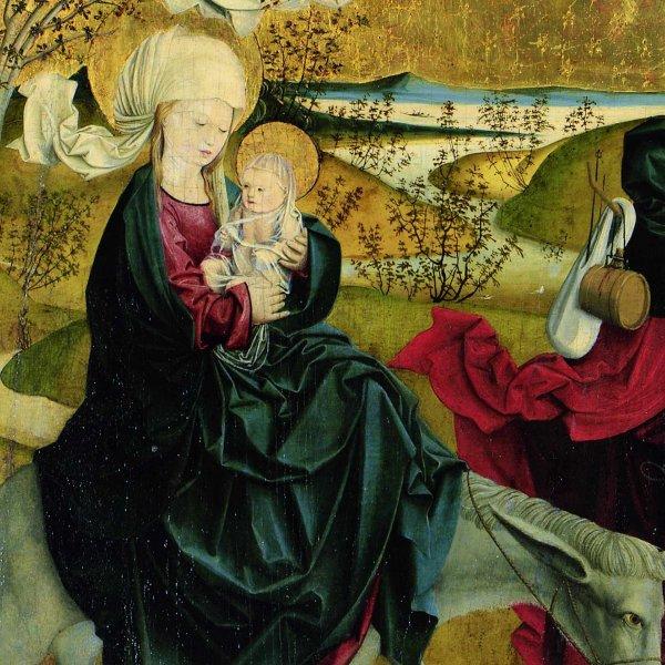 Meister von Mondsee, Flucht nach Ägypten, von der Predella des sog. Mondseer Altars, vor 1499 © Belvedere, Wien