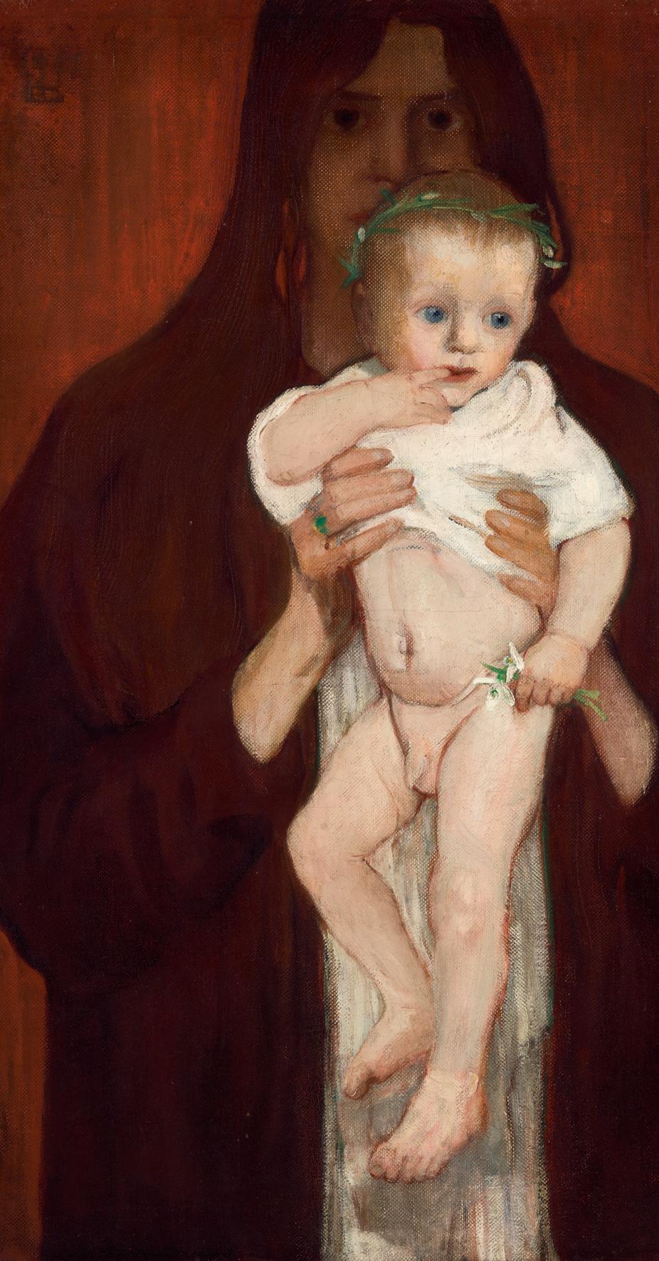Elena Luksch-Makowsky, Ver Sacrum, Selbstporträt mit Sohn Peter, 1901 Foto: Johannes Stoll © Belvedere, Wien