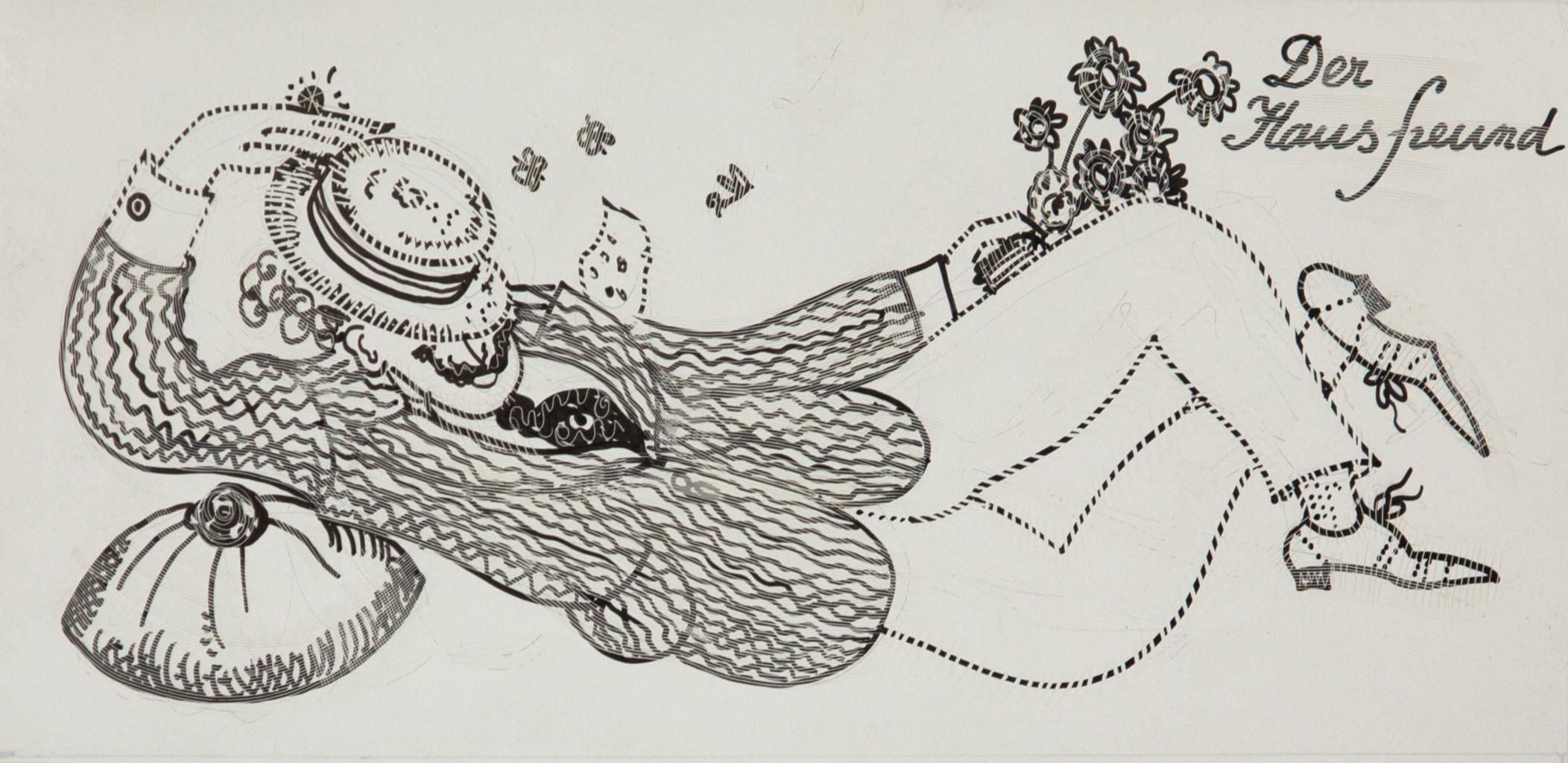 Friedrich Berzeviczy-Pallavicini, Der Hausfreund, Originalentwurf zu: Die k.k. Hofzuckerbäckerei Demel, Tusche auf Karton, 1976. Foto: Gregorius Grey, Kunstsammlung und Archiv, Universität für angewandte Kunst Wien