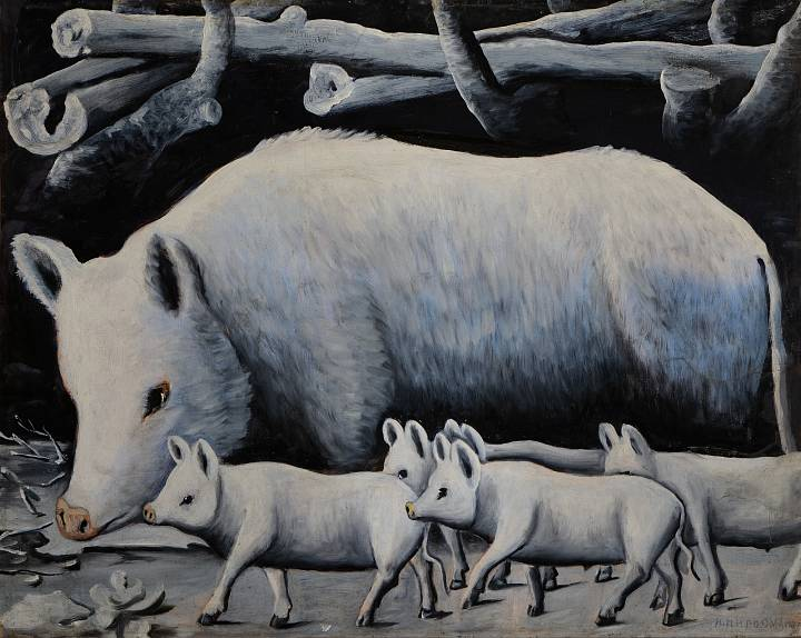 Niko Pirosmani | White Sow with Pigs | © Infinitart Foundation