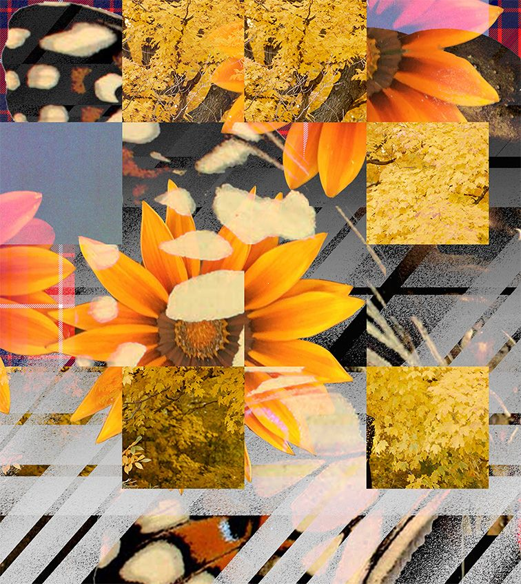 "Anthea Hamilton, ""Orange Flowers with Slanted Tartan_03"", 2018"