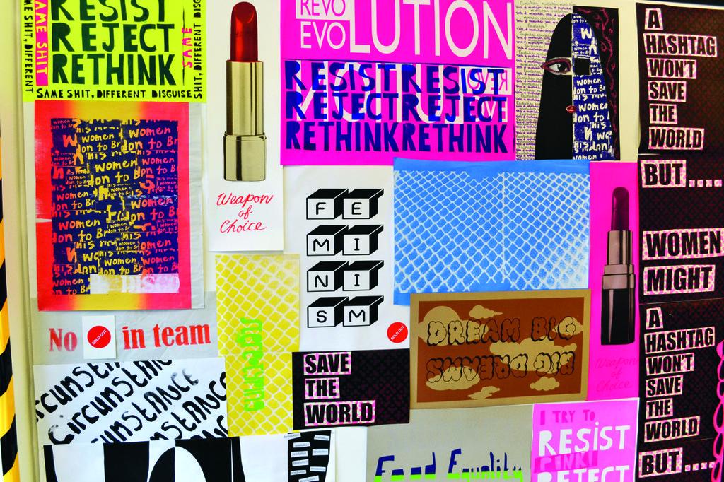 Ego Ahaiwe Sowinski/Aida Wilde, Poster inspiriert von Plakaten der Women's Art Library, Goldsmiths, University of London, Installationsansicht Empowered PrintWorks, 2015, Foto: Will Cenci