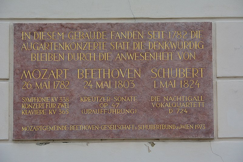 Mozart, Schubert, Beethoven, and Sonata Op. 47 without Bridgetower. Photo: Memorial Plaque for the Augarten Concerts via Wikimedia Commons
