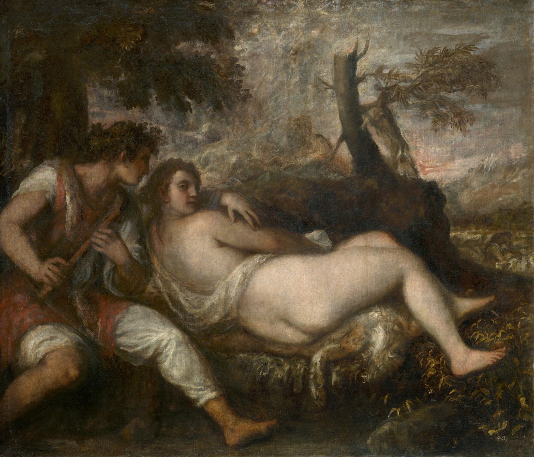 Tiziano Vecellio, gen. Tizian Nymphe und Schäfer um 1570/75