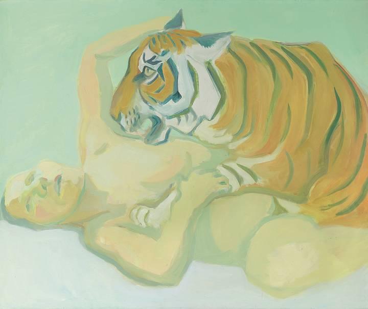 Maria Lassnig | Mit einem Tiger schlafen, 1975 | Albertina, Wien – Dauerleihgabe der Österreichischen Nationalbank © Maria Lassnig Privatstiftung